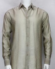 Bassiri Tan Stripe Waffle Design Long Sleeve Camp Shirt