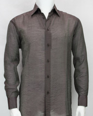 Bassiri Maroon Stripe Waffle Design Long Sleeve Camp Shirt