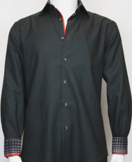 St. Cado Black & Red Contrasting Cuff Fashion Sport Shirt - Button Cuff