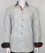 St. Cado Light Grey Contrasting Cuff Fashion Sport Shirt - Button Cuff