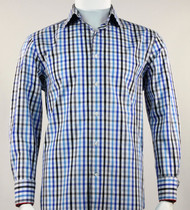 St. Cado Black & Blue Fashion Sport Shirt - Button Cuff