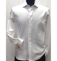 Antonio Martini White Herringbone Weave 100% Cotton Shirt - French Cuff