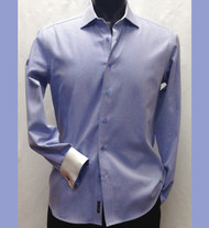 Antonio Martini Blue Contrasting Cuff 100% Cotton Shirt - French Cuff