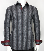 St. Cado Black & Charcoal Contrasting Cuff Fashion Sport Shirt - Button Cuff