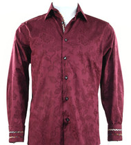 St. Cado Red Contrasting Cuff Fashion Sport Shirt - Button Cuff