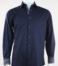 St. Cado Navy Contrasting Cuff Fashion Sport Shirt - Button Cuff