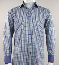 St. Cado  Blue Check Contrasting Cuff Fashion Sport Shirt - Button Cuff