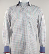 St. Cado White & Blue Contrasting Cuff Fashion Sport Shirt - Button Cuff
