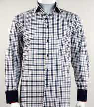 St. Cado White & Navy Contrasting Cuff Fashion Sport Shirt - Button Cuff