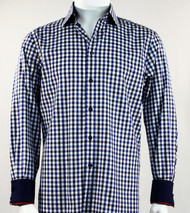 St. Cado Black, White & Blue Contrasting Cuff Fashion Sport Shirt - Button Cuff