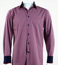 St. Cado Red & Navy Check Contrasting Cuff Fashion Sport Shirt - Button Cuff