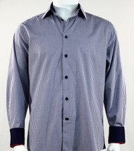 St. Cado Navy & White Check Contrasting Cuff Fashion Sport Shirt - Button Cuff