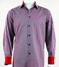 St. Cado Navy & Red Check Contrasting Cuff Fashion Sport Shirt - Button Cuff