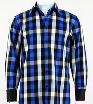 St. Cado Black, White & Blue Check Contrasting Cuff Fashion Sport Shirt - Button Cuff