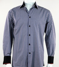 St. Cado Black, White & Navy Check Contrasting Cuff Fashion Sport Shirt - Button Cuff
