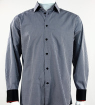 St. Cado Black & White Check Contrasting Cuff Fashion Sport Shirt - Button Cuff
