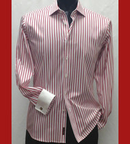 Antonio Martini Contrasting French Cuff 100% Cotton Shirt - Red Stripe