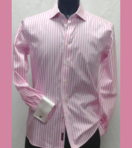 Antonio Martini Contrasting French Cuff 100% Cotton Shirt - Pink Stripe
