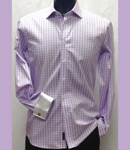 Antonio Martini Contrasting French Cuff 100% Cotton Shirt - Light Purple Check