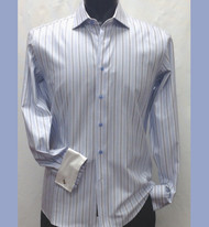 Antonio Martini Contrasting French Cuff 100% Cotton Shirt - Blue Multi Stripe