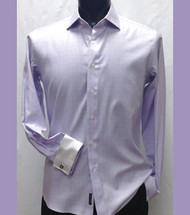 Antonio Martini Contrasting French Cuff 100% Cotton Shirt -  Light Purple Windowpane