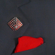 Antonio Ricci Fashion Lapel Pin/Button & Matching 100% Silk Pocket Square - Red Square Crystal