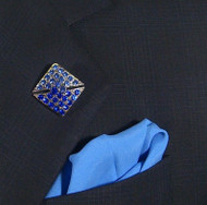 Antonio Ricci Fashion Lapel Pin/Button & Matching 100% Silk Pocket Square - Blue Square Crystal