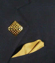 Antonio Ricci Fashion Lapel Pin/Button & Matching 100% Silk Pocket Square - Gold Square Crystal