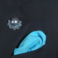 Antonio Ricci Fashion Lapel Pin/Button & Matching 100% Silk Pocket Square - Aqua Blue