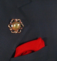 Antonio Ricci Red Fashion Lapel Pin/Button & Matching 100% Silk Pocket - Red/Gold Crystal