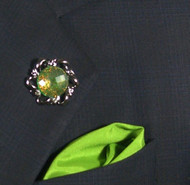 Antonio Ricci Fashion Lapel Pin/Button & Matching 100% Silk Pocket Square - Round Green Crystal