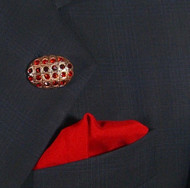 Antonio Ricci Fashion Lapel Pin/Button & Matching 100% Silk Pocket Square - Red Oval Crystal
