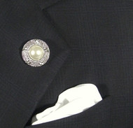 Antonio Ricci Fashion Lapel Pin/Button & Matching 100% Silk Pocket Square - White Pearl