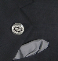 Antonio Ricci Grey Fashion Lapel Pin/Button & Matching 100% Silk Pocket Square - Red