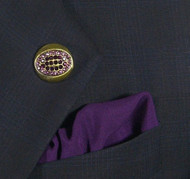 Antonio Ricci  Purple Fashion Lapel Pin/Button & Matching 100% Silk Pocket Square