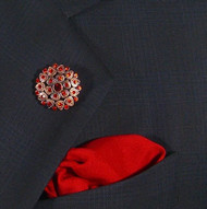 Antonio Ricci Red Crystal Fashion Lapel Pin/Button & Matching 100% Silk Pocket Square