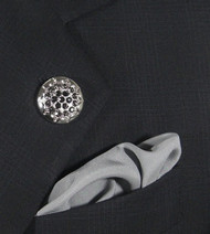 Antonio Ricci Grey Crystal Fashion Lapel Pin/Button & Matching 100% Silk Pocket Square