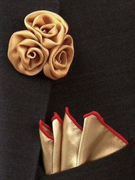 Antonio Ricci Fashion Rose Lapel Pin & Pocket Square - Tan with Red
