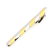 Gold Stripe on Silver Tie Bar Clip
