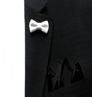Antonio Ricci Fashion Mini Bow Tie Lapel Pin & Pocket Square - White & Black