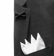 Antonio Ricci Fashion Mini Bow Tie Lapel Pin & Pocket Square - Black Pin & White