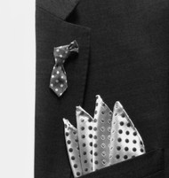 Antonio Ricci Fashion Mini Necktie Lapel Pin & Pocket Square - Grey Polka Dot