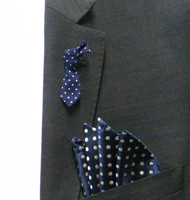 Antonio Ricci Fashion Mini Necktie Lapel Pin & Pocket Square - Blue Polka Dot