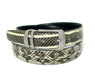 30mm Men's Genuine Python Snake Skin Belt - Natural Tone