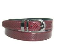 30mm Men's Genuine Snake Skin Belt - Burgundy