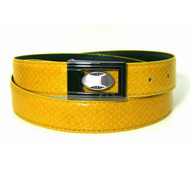 30mm Men's Genuine Snake Skin Belt - Yellow-Gold