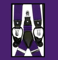 Convertible Button & Clip Stretch Braces - Suspenders - Purple