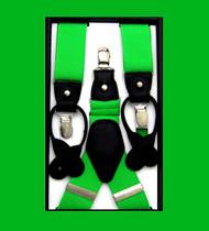 Convertible Button & Clip Stretch Braces - Suspenders - Bright Green
