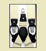 Convertible Button & Clip Stretch Braces - Suspenders - Buttercream