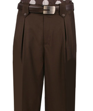Veronesi 100% Wool Wide-Legged Slacks - Dark Brown